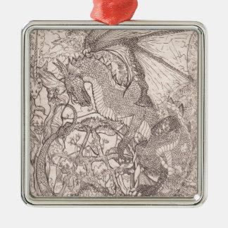 Drache mit Pentagram-Einhorn Silbernes Ornament