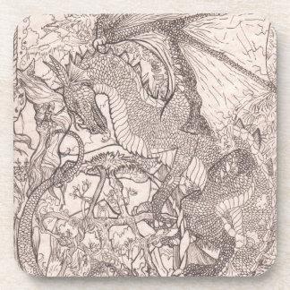 Drache mit Pentagram-Einhorn Untersetzer