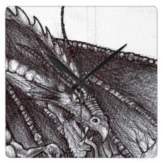Drache-Skizze-Uhr Quadratische Wanduhr