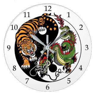 Drache und Tiger yin Yang Große Wanduhr