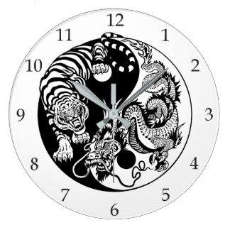 Drache und Tiger yin Yang-Symbol Große Wanduhr