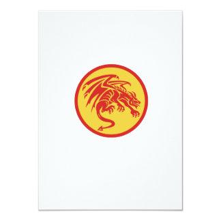 Drache-Wasserspeier-duckender Kreis Retro 11,4 X 15,9 Cm Einladungskarte