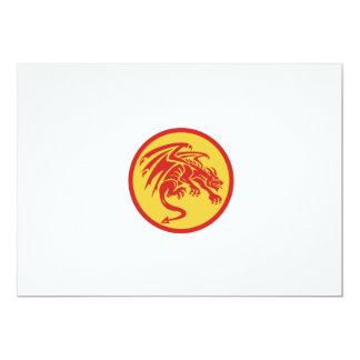 Drache-Wasserspeier-duckender Kreis Retro 12,7 X 17,8 Cm Einladungskarte