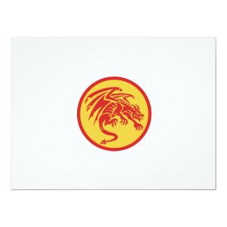 Drache-Wasserspeier-duckender Kreis Retro 16,5 X 22,2 Cm Einladungskarte