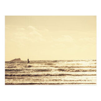 Drachen-Surfer an Sonnenuntergang Newquay Cornwall Postkarte