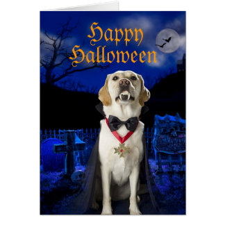 Dracula-Hundehalloween-Grußkarte Karte