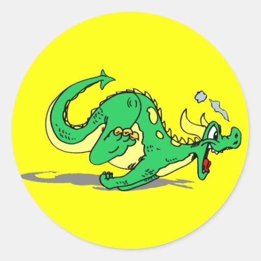 Dragon amical espiègle mignon adhésifs ronds