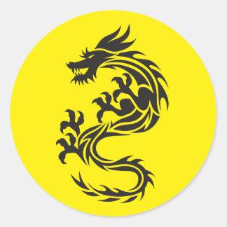 Dragon du feu sticker rond