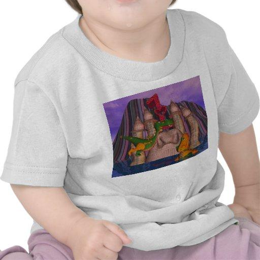 Dragon mignon de patchwork de l'anniversaire deux t-shirt