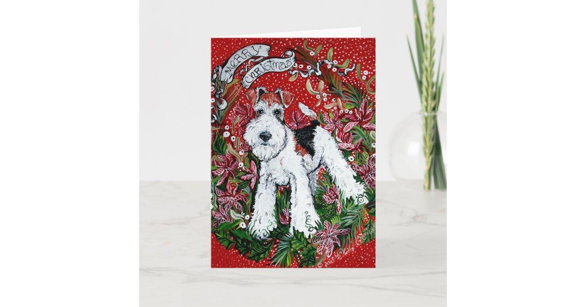Draht-Foxterrier-Weihnachten Weihnachtskarte | Zazzle.ch