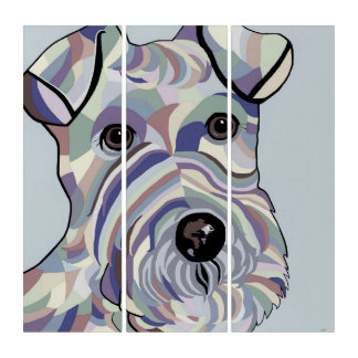 Draht-Haar Terrier in den Denim-Farben Triptychon