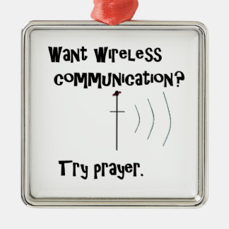 Drahtloses Kommunikations-Gebet Quadratisches Silberfarbenes Ornament