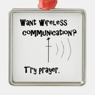 Drahtloses Kommunikations-Gebet Silbernes Ornament