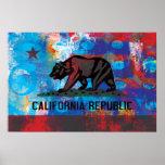 Drapeau abstrait de la Californie Posters