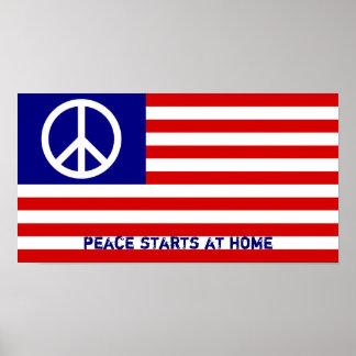 Drapeau américain et signe de paix