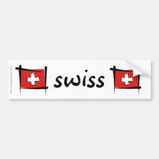 Drapeau de brosse de la Suisse Autocollant De Voiture