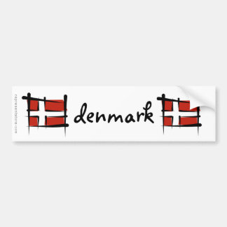 Drapeau de brosse du Danemark Autocollant De Voiture