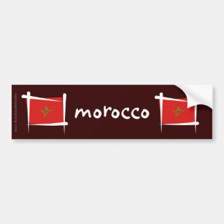 Drapeau de brosse du Maroc Autocollant De Voiture