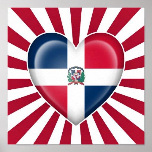 Drapeau de coeur de la République Dominicaine avec Poster