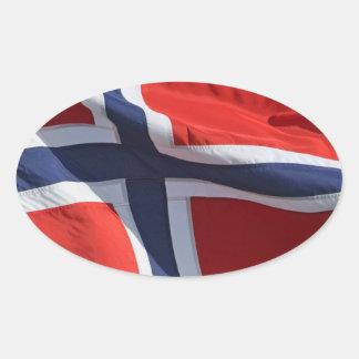 drapeau de la Norvège Autocollant Ovale