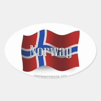 Drapeau de ondulation de la Norvège Sticker Ovale