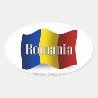 Drapeau de ondulation de la Roumanie Sticker Ovale