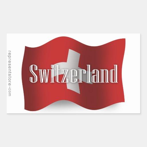 Drapeau de ondulation de la Suisse Autocollant Rectangulaire