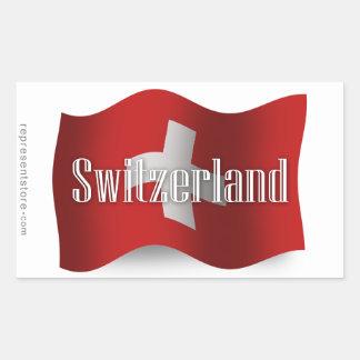 Drapeau de ondulation de la Suisse Sticker Rectangulaire