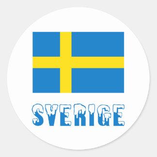 Drapeau et nom de Sverige Adhésif Rond