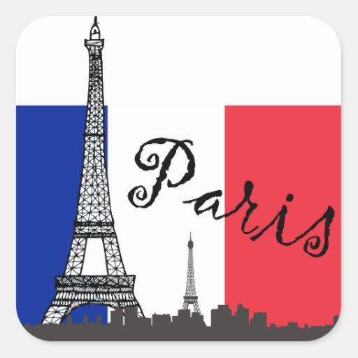 Drapeau français et Tour Eiffel Autocollants Carrés