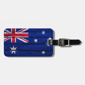 Drapeau rustique de l'Australie Étiquette À Bagage