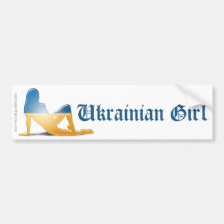 Drapeau ukrainien de silhouette de fille autocollant de voiture
