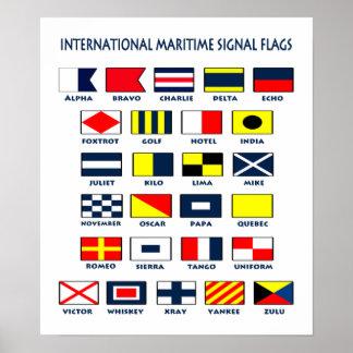 Drapeaux maritimes. L'International signe l'affich Posters