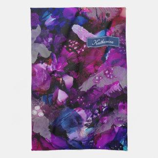 Drastische Tinten-abstraktes Lila Küchentuch