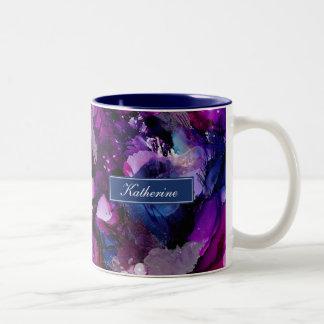 Drastische Tinten-abstraktes Lila Zweifarbige Tasse