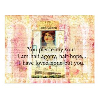 Drastisches und romantisches Liebezitat JANES Postkarte