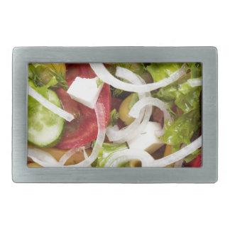 Draufsicht eines Salats gemacht vom natürlichen Rechteckige Gürtelschnalle