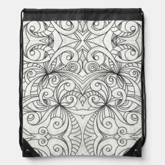 Drawstring-Rucksack-Blumengekritzel-Zeichnen Turnbeutel