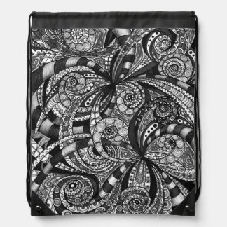 Drawstring-Rucksack-Zeichnen mit Blumen Sportbeutel