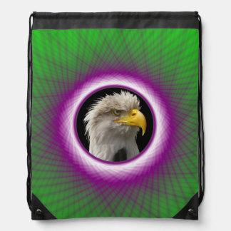 Drawstring-Taschen-   grünes und violettes Turnbeutel