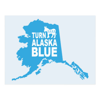 Drehen Sie blaue Abstimmung Demokraten Alaskas Postkarte