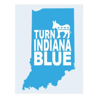 Drehen Sie blaue Abstimmung Demokraten Indianas Postkarte