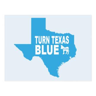 Drehen Sie blaue Abstimmung Demokraten Texas Postkarte