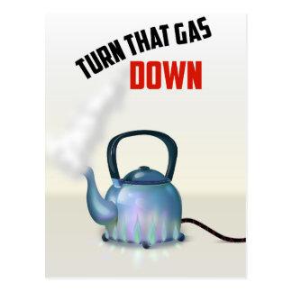 Drehen Sie das Vintage Plakat des Gases unten Postkarte