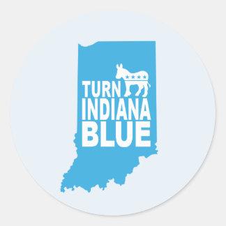 Drehen Sie Indiana, das blaues Aufkleber-Blatt | Runder Aufkleber