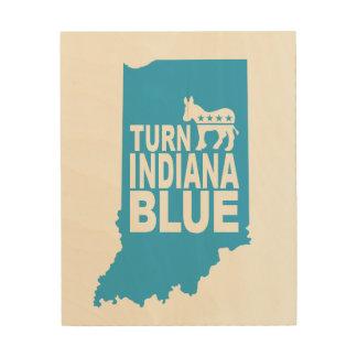 Drehen Sie Indianas blauen hölzernen Holzleinwand