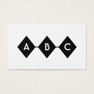 Drei Diamant-Schwarzweiss-Monogramm Visitenkarte