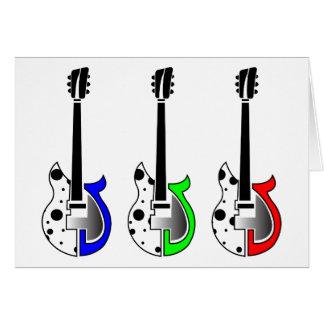 Drei elektrische Gitarren - NeonPop-Kunst Grußkarte