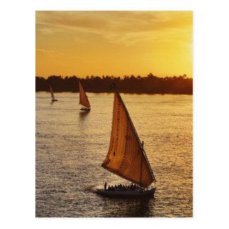 Drei falukas mit Schaulustigen auf dem Nil an Postkarte