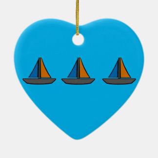Drei farbige Segelboote Keramik Ornament